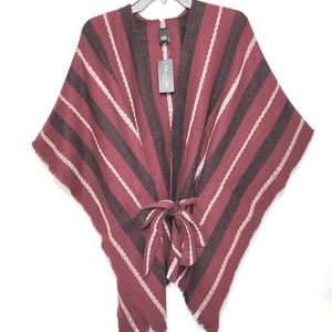 Belted Fringed Trim Poncho